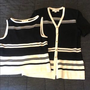 St John Black White Stripe Knit Set 6 Small